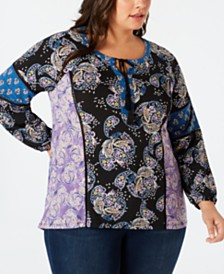 Style & Co Plus Size Paisley-Print Peasant Top, Created for Macy's