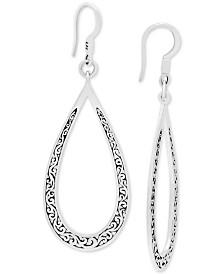 Lois Hill Decorative Scroll Open Teardrop Drop Earrings in Sterling Silver