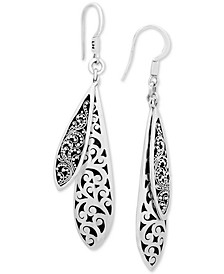 Scroll Work & Filigree Double Drop Earrings in Sterling Silver