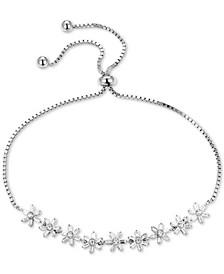 Cubic Zirconia Flower Bolo Bracelet in Sterling Silver
