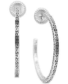 Lois Hill Large Filigree Hoop Earrings in Sterling Silver