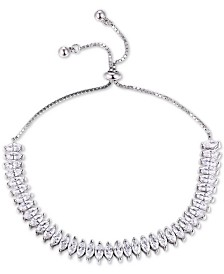 Tiara Cubic Zirconia Bolo Bracelet in Sterling Silver