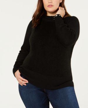 BELLDINI Black Label Plus Size Contrast Mock-Turtleneck Sweater