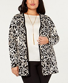 Black Label Plus Size Leopard-Print Open-Front Jacket