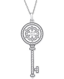 "Diamond Flower Key 18"" Pendant Necklace (1/4 ct. t.w.) in 14k White Gold"