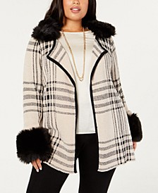 Black Label Plaid Chenille Cardigan