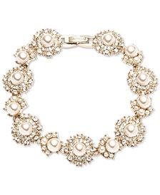 Marchesa Gold-Tone Cubic Zirconia & Imitation Pearl Flex Bracelet