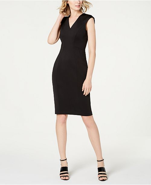 839a42a0 Calvin Klein V-Neck Scuba Sheath Dress & Reviews - Dresses - Women ...