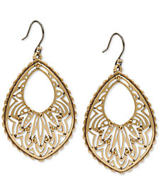 Lucky Brand Gold-Tone Pavé Openwork Drop Earrings