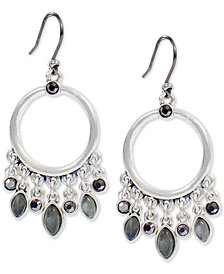 Lucky Brand Silver-Tone Crystal & Stone Dangle Hoop Earrings