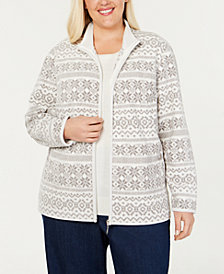 Karen Scott Plus Size Printed Zip-Up Jacket, Created for Macy's