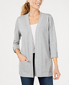 Karen Scott Cotton Cozy Cardigan, In Regular and Petite, Created for Macy's