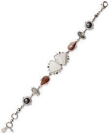 Lucky Brand Silver-Tone Multi-Stone Link Bracelet