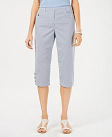 Petite Corded Striped Twill Capri Pants, Created for Macy's