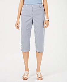 Karen Scott Striped Button-Cuff Capris Pants, Created for Macy's
