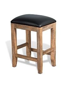 "Puebla 24""H Driftwood Backless Stool, Cushion Seat"