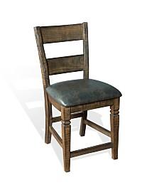 "Homestead 24""H Tobacco Leaf Ladderback Barstool, Cushion Seat"