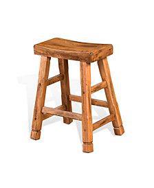 "Sedona 24""H Rustic Oak Saddle Seat Stool"