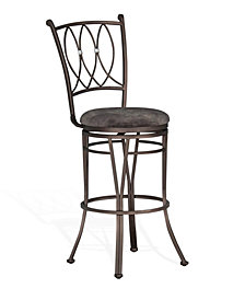 "Jaylen 30""H Graphite Metal Swivel Barstool, Cushion Seat"