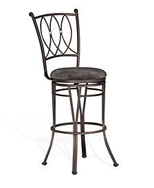 "Jaylen 30""H Graphite Metal Swivel Barstool, Cushion Seat"