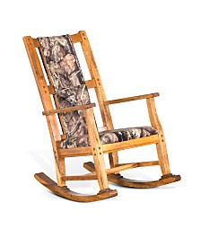 Sedona Rustic Oak Rocker, Mossy Oak Fabric Seat