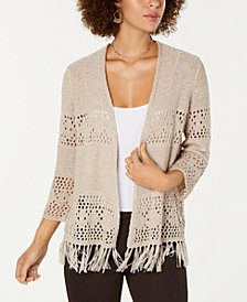 Style & Co Petite Open-Front Fringe Cardigan, Created for Macy's