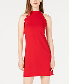 BCX Juniors' Scalloped Scuba Crepe Halter Dress