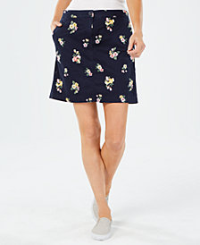 Karen Scott Floral-Print Pull-On Skort, Created for Macy's