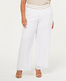 JM Collection Plus Size Lined Gauze Pull-On Pants, Created for Macy's