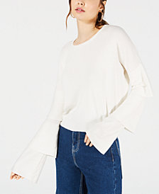 Sage The Label Cropped Tiered-Sleeve Sweater