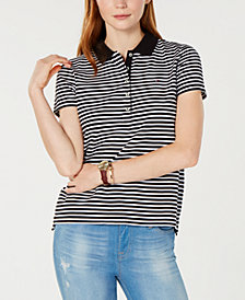 Tommy Hilfiger Striped Piqué Polo Top, Created for Macy's