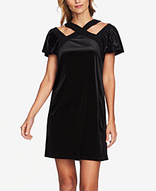 CeCe Velvet Cutout Flutter-Sleeve Dress