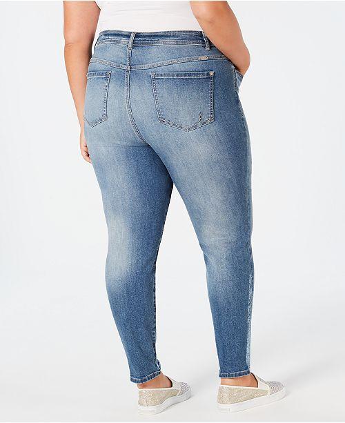 b529caf1b91dc INC International Concepts I.N.C. Plus Size Foil-Hem Skinny Jeans ...