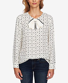 CeCe Printed Bow Blouse