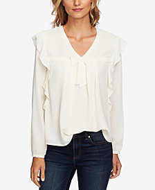CeCe Ruffled V-Neck Tie Blouse