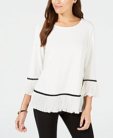 Alfani Knit Pleated-Hem Top, Created for Macy's