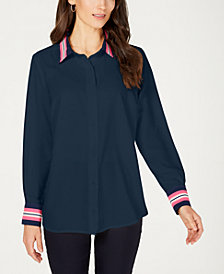 Charter Club Striped-Trim Shirt, Created for Macy's