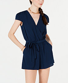Be Bop Juniors' Belted Surplice Wrap Romper