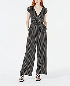 Be Bop Juniors' Striped Wrap Jumpsuit