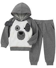 Kids Headquarters Toddler Boys 2-Pc. Furry Dog Face Hoodie & Pants Set