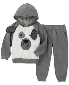 Kids Headquarters Little Boys 2-Pc. Furry Dog Face Hoodie & Pants Set