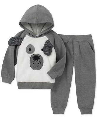 Kids Headquarters Toddler Boys 2-Pc. Furry Dog Face Hoodie & Pants Set
