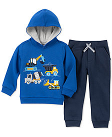 Kids Headquarters Toddler Boys 2-Pc. Construction Vehicles Graphic Fleece Hoodie & Jogger Pants Set