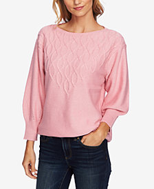 CeCe Step-Stitch Puffed-Sleeve Sweater
