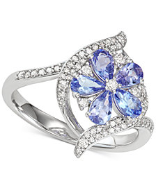 Emerald (1-1/5 ct.t.w.) & Diamond (1/3 ct. t.w.) Ring  (Also in Sapphire, Tanzanite & Certified Ruby)