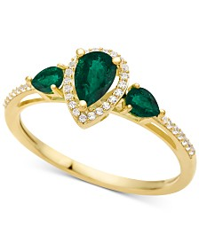 Emerald (7/8 ct. t.w.) & Diamond (1/10 ct. t.w.) Ring in 10k White Gold (Also in Certified Ruby, Sapphire & Tanzanite)