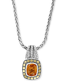 "EFFY® Citrine 16-1/2"" Pendant Necklace (3-9/10 ct. t.w.) in Sterling Silver & 18k Gold"