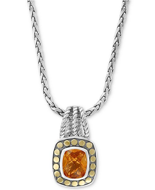 "EFFY Collection EFFY® Citrine 16-1/2"" Pendant Necklace (3-9/10 ct. t.w.) in Sterling Silver & 18k Gold"