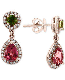EFFY® Multi-Tourmaline (2-1/5 ct. t.w.) & Diamond (1/4 ct. t.w.) Drop Earrings in 14k Rose Gold