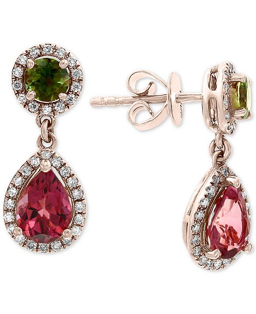 EFFY Collection EFFY® Multi-Tourmaline (2-1/5 ct. t.w.) & Diamond (1/4 ct. t.w.) Drop Earrings in 14k Rose Gold